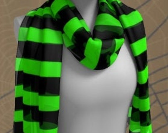 Witch Scarf HALLOWEEN SCARF Green and Black Striped Halloween SCARF Square Scarf or Long Scarf Accessories Fashion Scarf Halloween Scarves