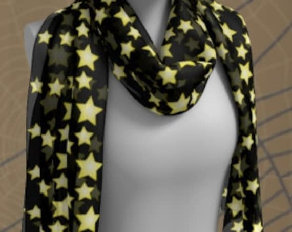Star Scarf HALLOWEEN SCARF Black and Yellow Halloween SCARF Square Scarf or Long Scarf Accessories Fashion Scarf for Women Halloween Scarves