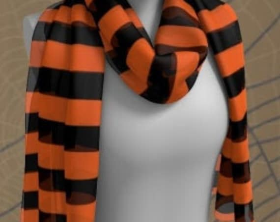 HALLOWEEN SCARF Orange and Black Striped Halloween SCARF Square Scarf or Long Scarf Accessories Fashion Scarf for Women Halloween Scarves