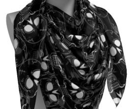 SKULL SKELETON SCARF - Halloween Scarf - Square Scarf or Long Scarf - Fall Accessories - Fashion Scarf - Halloween Scarves - Black and White