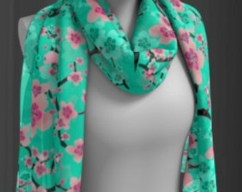Women's Floral Cherry Blossom SCARF Womens SCARVES Square or Long Scarf Cherry Blossom Flower Scarf Easter Gift for Wife Bridesmaid Gift