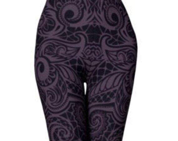 WOMENS LEGGINGS Yoga Leggings for Women Paisley Leggings Purple and Black Tribal Yoga Pants Festival Clothing Rave Leggings Workout Tights