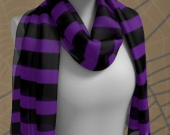 Witch Scarf HALLOWEEN SCARF Purple and Black Striped Halloween SCARF Square Scarf or Long Scarf Accessories Fashion Scarf Halloween Scarves