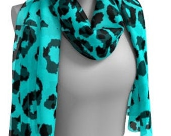CHEETAH PRINT SCARF Animal Print Scarf Women's Long Scarf Women's Square Scarf Teal and Black Leopard Print Scarves Summer Scarf Accessories
