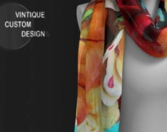 Colorful Floral Print Scarf for Women DESIGNER FASHION SCARF Womens Scarves Square & Long Floral Print Scarf Spring Fashion Accessories gift