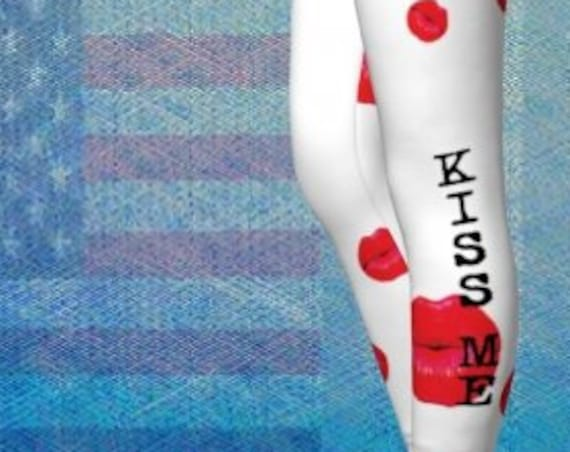 Red White LEGGINGS - gifts for her - valentines day gift - Womens Sexy Leggings - Kiss Me Leggings -Sexy Print Leggings - Sexy Leggings