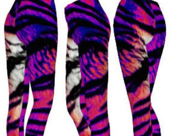 Tiger LEGGINGS TIGER PRINT Leggings Pink and Purple Rainbow Striped Womens Tiger Leggings Animal Print Clothing Yoga Leggings Yoga Pants
