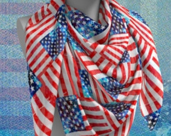 American Flag SCARF Red White and Blue PATRIOTIC Scarf for Women Long and Square Styles USA Flag Scarf Stars and Stripes 4th of July Scarf