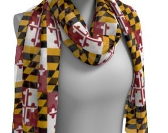 MARYLAND SCARF Maryland Flag SCARVES Printed Scarf Maryland State Flag Fashion Scarf Designer Fashion Scarf for Women Square and Long Styles