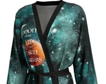 KIMONO ROBE Women's Long Peignoir Kimono Robe Cosmic Galaxy Print GOT Game of Thrones Inspired Designer Kimono Robe Emerald Green Galaxy