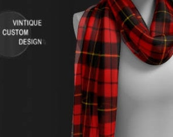 RED TARTAN PLAID Scarf for Women - Long & Square Styles - Plaid Scarf - Designer Scarves for Women - Scarf - Women's Fashion Accessories