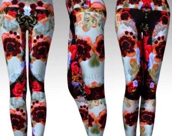 PASTEL GOTH LEGGINGS Day of the Dead Sugar Skull Gothic Clothing Punk Yoga Leggings Yoga Pants Fantasy Tights Printed Leggings Womens