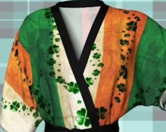 Saint Patricks Day SHAMROCK Kimono Robe IRISH FLAG Kimono Robe Sexy Lingerie Green and Orange Clover Robe St Patties Day Clothing St Pattys