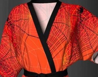 Orange and Black KIMONO ROBE HALLOWEEN Robe for Women Designer Luxury Kimono Robe Womens Kimono Robe for Halloween Spiderweb Cobweb Spider