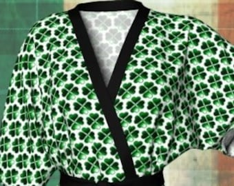 CLOVER KIMONO ROBE Green and White Four Leaf Clover Shamrock Kimono Robe for her Womens Designer Kimono Robe or Peignoir Long Kimono Robe