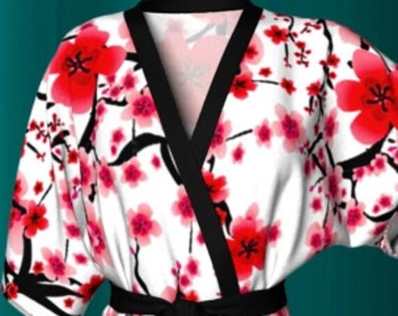 Cherry Blossom KIMONO ROBE Womens Designer Kimono Robe Womens Gifts For Wife Luxury Robe Womens Robes Red and White Robe Floral Kimono Robe