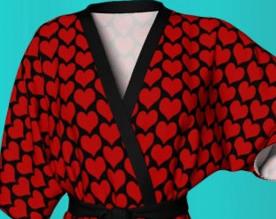 Red Heart Robe VALENTINES Day KIMONO ROBE Heart Print Kimono Robe Red Heart Print Robe Womens Heart Robe Gift for Her Valentines Day Gift