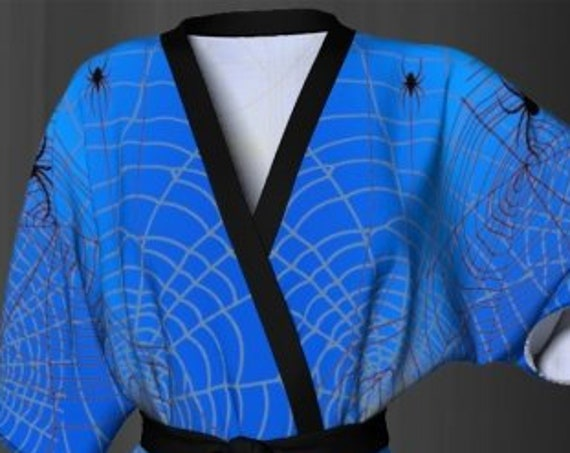 HALLOWEEN Kimono Robe for Women Designer Luxury Kimono Robe Womens Kimono Robe for Halloween Spiderweb Cobweb Spider Web Robe Blue and Black