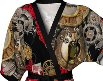 STEAMPUNK KIMONO ROBE - Womens Kimono Robe - Steam Punk Clothing - Futuristic Clothing - Cyberpunk Robe - Sexy Gift for Wife - Gift for Her