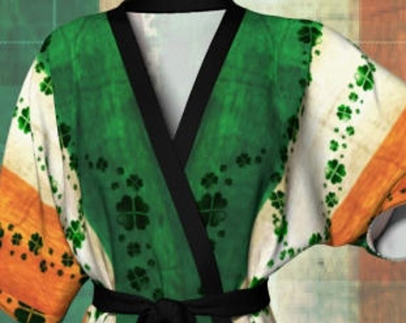 Saint Patricks Day SHAMROCK Kimono Robe IRISH FLAG Kimono Robe Sexy Lingerie Green and Orange Clover Robe St Patties Day Clothing Paddys Day
