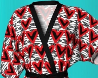 VALENTINE'S DAY ROBE Womens Heart Print Kimono Robe Gift for Her Gifr for Wife Valentine's Day Gift Red and Black Designer Fashion Robe