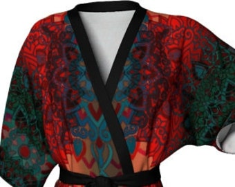 WOMENS KIMONO ROBE Tribal Print Japanese Style Kimono Robe Womens Kimono Robes Mothers Day Gifts for Her Luxury Robes Rainbow Lotus Flower