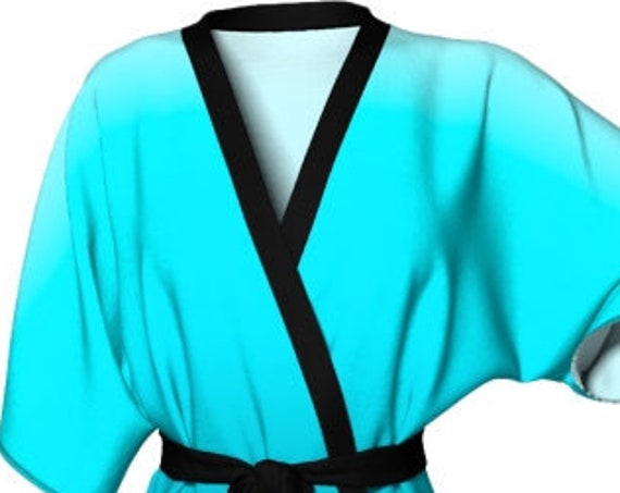WOMENS Turquoise KIMONO Robe Ombre Kimono Robe Womens Kimono Robe Sexy Gift for Wife Gift for Her Gift for Mom Beach Cover Up Summer Robe