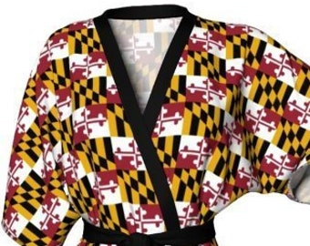 MARYLAND Flag KIMONO ROBE Womens Kimono Robe Maryland State Flag Robe Peignoir Robe for Women Red Yellow Black and White Maryland Kimono