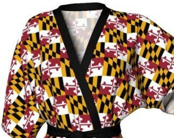 KIMONO ROBE WOMENS Maryland Kimono Robe Maryland Clothing Gift for Mom Designer Luxury Robe for Her Maryland Robe Maryland State Flag Gift