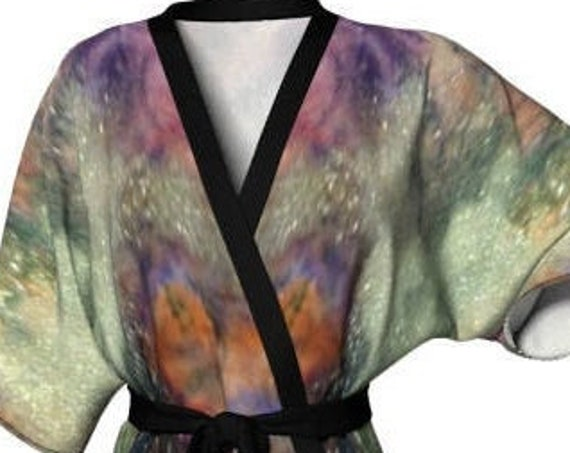 GALAXY KIMONO ROBE Women's Galaxy Kimono Lingerie Robe for Women Glitter Art Hand Painted Kimono Designer Luxury Robe for Her Gift for Mom