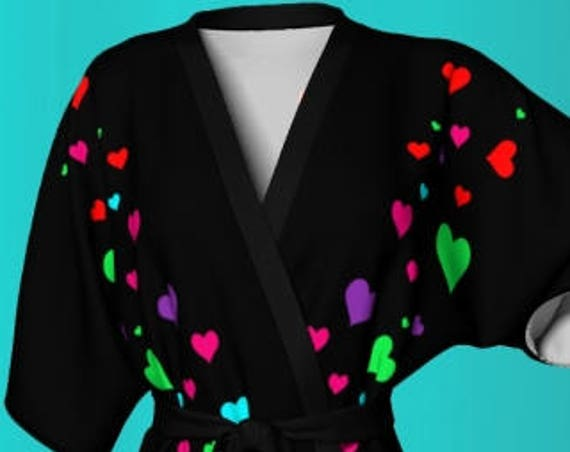 Kimono ROBE Womens Black Rainbow Hearts KIMONO WOMENS Mothers Day Robe Heart Kimono Robe Gift for Wife Designer Robes for Wife Gifts for her