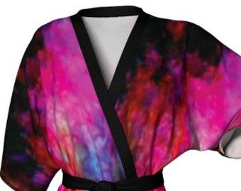 KIMONO ROBE WOMENS Designer Japanese Style Kimono Robe For Women Womens Luxury Robes Silky Galaxy Rainbow Print Designer Kimono Robe
