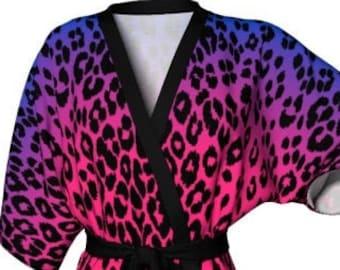CHEETAH KIMONO ROBE Women's Pink and Purple Ombre Cheetah Print Kimono Robe Designer Robe for Women's Kimono Animal Print Leopard Print Robe