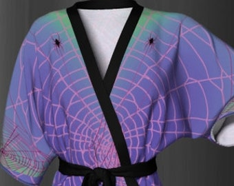 KIMONO ROBE WOMENS Kimono Robe for Halloween Purple and Green Ombre Spiderweb Spider Printed Kimono Robe for Halloween Costume Gift for Her