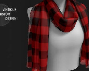 RED TARTAN PLAID Scarf Buffalo Check Womens Plaid Scarf Red Plaid Scarf for Women Winter Fashion Accessories Christmas Gifts for Her Scarves