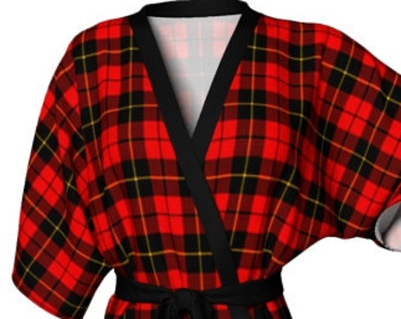 Red TARTAN PLAID ROBE Womens Kimono Robe Red Plaid Kimono Robe for Her Gift for Wife Designer Luxury Robe for Mom Gift for Mom Mothers Day
