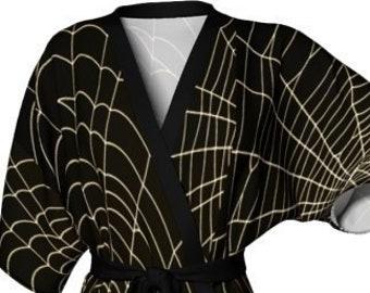 Spiderweb KIMONO ROBE Womens HALLOWEEN Printed Kimono Robe Cobweb Spider Web Kimono Robe Black and White Womens Robe Womens Kimono Robes