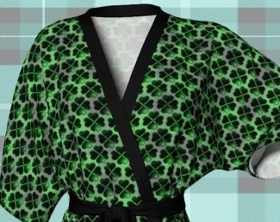 Green CLOVER Kimono ROBE Womens St Patricks Day Robe Kimono Robe Shamrock Printed Robe Gift for Wife Gift for Her St. Patty's Clothing