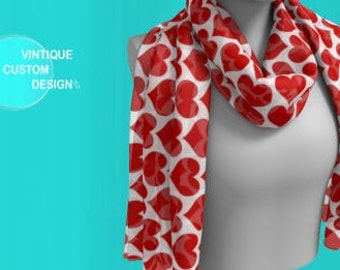 Red and White HEART SCARF For Women Mothers Day Scarf Clothing Gift for Girlfriend Gf Gift for Wife Gift for Her Best Friend Gift Scarves