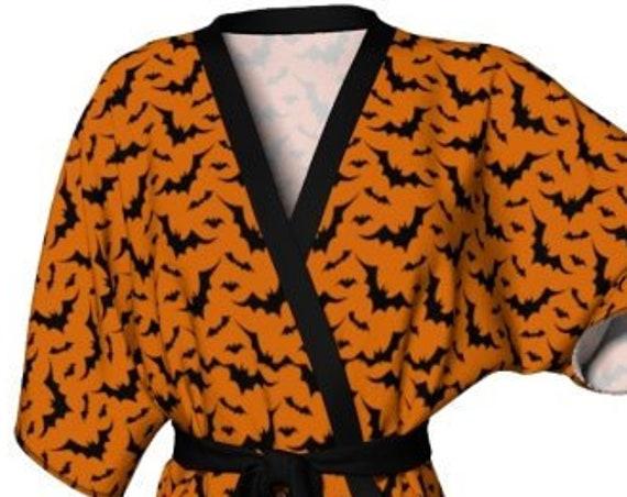 KIMONO ROBE Womens Kimono Robe for Halloween Bat Orange & Black Print Robe Luxury Kimono Robe for Women Gift for Her Halloween Costume Robe