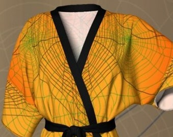 HALLOWEEN KIMONO ROBE Womens Kimono Robe for Halloween Yellow and Black Spider Web Spider Printed Luxury Robe Gift for Wife Gift for Her