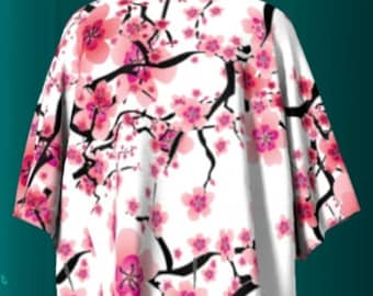 Pink and White Cherry Blossom FLORAL Draped KIMONO Cover Up Bolero Swimsuit Cover up Wrap Shaw For Women Gift for Wife Womens Clothing