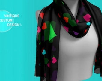 Heart Scarf for Women - Long & Square Styles - Scarf - Heart Scarves for Women - Heart Scarf - Womens Fashion Accessories Rainbow - Scarves