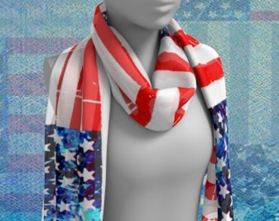 AMERICAN Flag SCARF Red White and Blue USA Stars and Stripes Designer Fashion Scarf Women's Scarves Long Scarf or Square Scarf Gift for Her