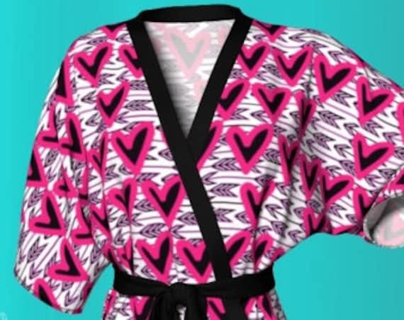 Pink Heart Robe VALENTINES Day KIMONO ROBE Heart Print Kimono Robe Pink Heart Print Robe Womens Heart Robe Gift for Her Valentines Day Gift