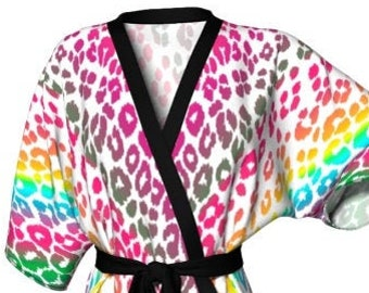 Women's KIMONO ROBE Rainbow Ombre Animal Print Kimono Robe Designer Robe for Women's Kimono Cheetah Print Leopard Print Robe Gift for Her