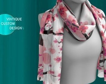 Floral SCARF Flower Print Scarves Designer Scarf for Women Mothers Day Gift For Wife Square SCARVES or Long Scarf Cherry Blossom Print