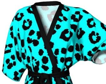 Leopard Cheetah Print KIMONO ROBE Womens Kimono Robe PEIGNOIR Robe Animal Print Robe Sexy Gift for Wife Gift for Mom Gift for Her Lingerie