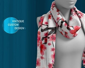 Designer Fashion SCARF Womens SCARVES Mothers Day Gift For Wife Square SCARVES or Long Scarf Cherry Blossom Print Custom Made-to-order