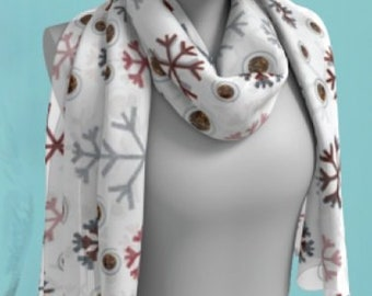 SNOWFLAKE SCARF CHRISTMAS Scarf Long or Square Scarf for Women Snowflake Scarves Christmas Scarves White and Red Christmas Gift for Wife